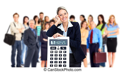 Accountant business woman and group of people. Isolated over white background.