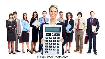 Accountant business woman with calculator and group of workers. Isolated.