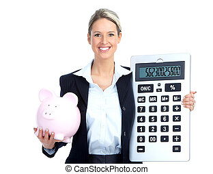 Accountant business woman with a big calculator and a piggy...