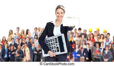 Accountant business woman with a big calculator and large...
