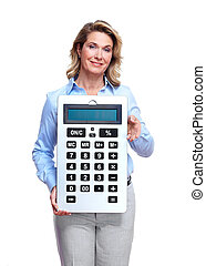 Accountant business woman with a calculator.