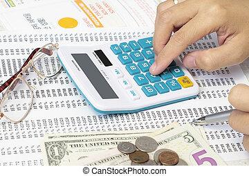 accountant, controleren, een, spreadsheet