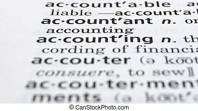 Close-up of the word Accountant in a dictionary