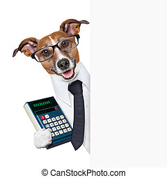 accountant dog behind blank page wearing a suit
