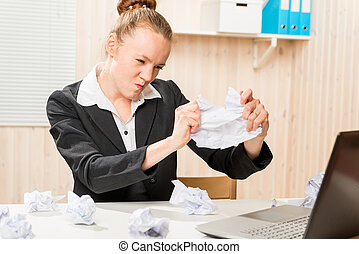 Accountant emotional struggles with stress in the office