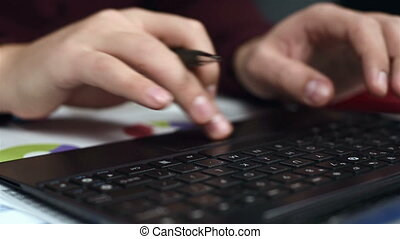 Accountant Hands Typing On Keyboard - Accountant Hands...