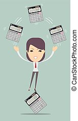 Accountant holding calculator.