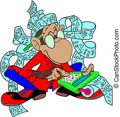 Accountant monkey - Illustration of wise monkey counting...