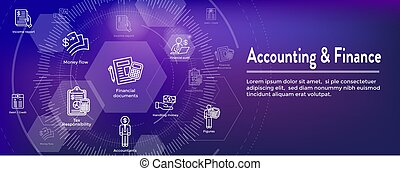 Accountant or Accounting Icon Set & Web Header Banner