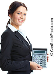 Accountant - Portrait of a businesswoman with a calculator,...