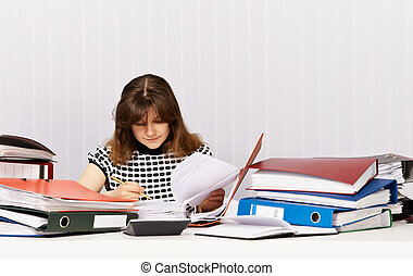 Accountant prepares for financial auditing - The accountant ...