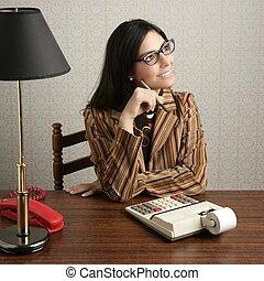 accountant secretary retro woman vintage office