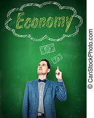 Accountant thinking of economy