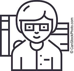 accountant vector line icon, sign, illustration on background, editable strokes