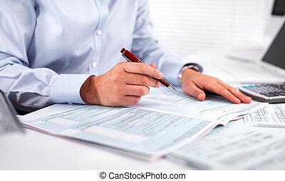 accountant, vrouw, calculator., handel hands