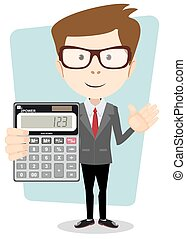 Accountant with a Calculator, Vector Illustration -...