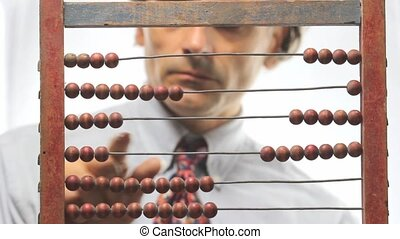 abacus - accountant with abacus over white background