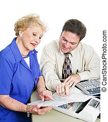 Accountant with Client - Accountant giving financial advice ...