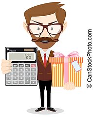 Accountant with gift and a calculator