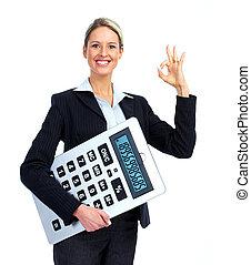 accountant, woman., zakelijk