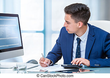 Accountant working on budget at desk.