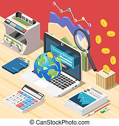 Accountant Workplace Isometric Composition
