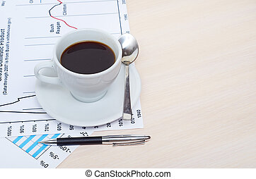 accounting., 커피잔, 통하고 있는, document., 도표, 와..., 도표