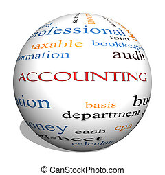 Accounting 3D Sphere Word Cloud Concept