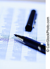 Accounting - A close up shot of a spreadsheet and a pen, can...