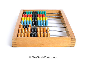 Accounting abacus on white background.
