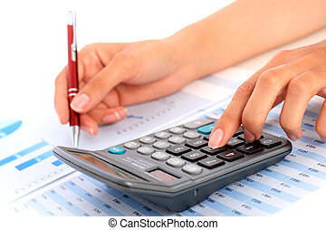 Accounting. - Accounting concept. Hands, pen and calculator.