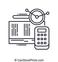 Accounting analysis icon, linear isolated illustration, thin line vector, web design sign, outline concept symbol with editable stroke on white background.