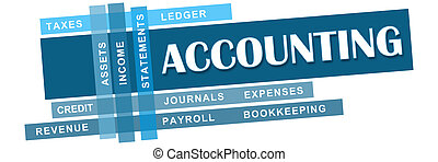 Accounting concept image with text and related keywords.