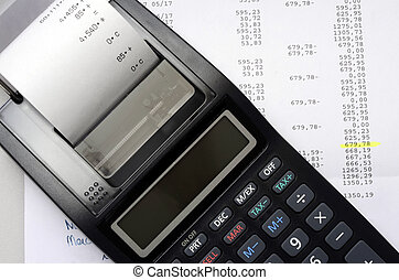 Accounting calculator and figures listing