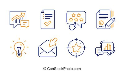 Accounting, Copywriting and Open mail icons set. Idea, ...