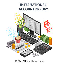 Accounting day concept background, isometric style