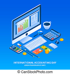 Accounting day holiday concept background, isometric style