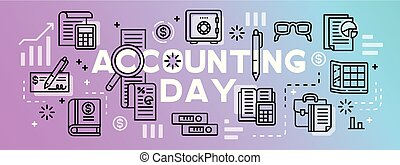 Accounting day tool banner, outline style