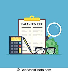 Accounting, financial statement, audit concepts. Balance...