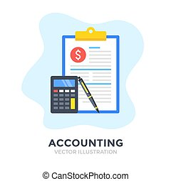 Accounting. Flat design. Accountancy, tax audit, business...