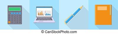 Accounting icon set, flat style