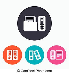 Accounting icons. Document storage in folders.
