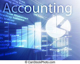Accounting illustration of Spreadsheet and business financial charts