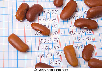 Red Kidney Beans on a Ledger Book. Accounting Joke