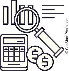Accounting line icon concept. Accounting vector linear illustration, symbol, sign
