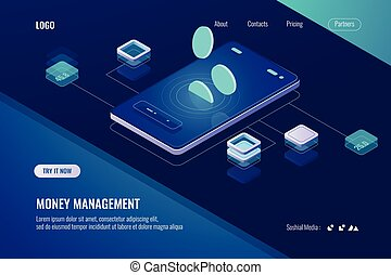 Accounting money, isometric online bank, horizontal banner of mobile application for cryptocurrency, dark violet neon