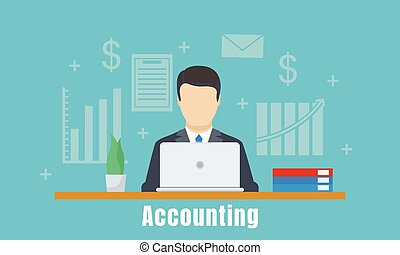 Accounting office man concept background, flat style