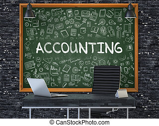 Accounting on Chalkboard with Doodle Icons.