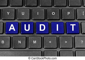 accounting or tax audit word on keyboard