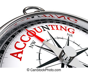 accounting red word on concept compass